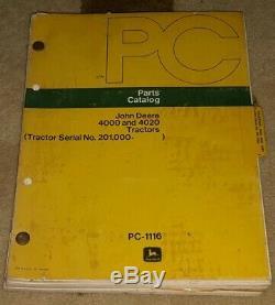 1975 book VINTAGE John Deere Parts Catalog PC-1116 Tractor 4000 4020 ANTIQUE