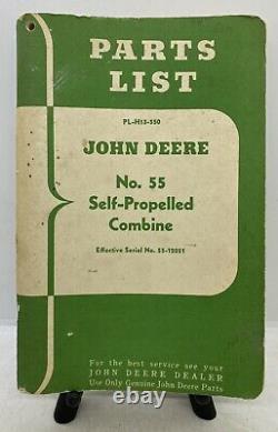 Antique Farm Tractor Vintage John Deere No. 55 Self Propelled Combine Parts List