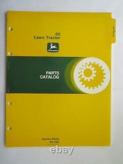 JOHN DEERE 60 LAWN and GARDEN TRACTOR PARTS CATALOG MANUAL PC-1007