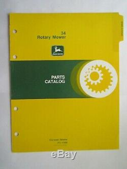 JOHN DEERE 70 & 100 LAWN and GARDEN TRACTOR 34 MOWER PARTS CATALOG MANUAL PC1008