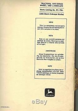 JOHN DEERE VINTAGE 1010 WHEEL and LANDSCAPE TRACTOR PARTS MANUAL