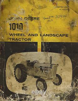 JOHN DEERE VINTAGE 1010 WHEEL and LANDSCAPE TRACTOR PARTS MANUAL PL-T16741T