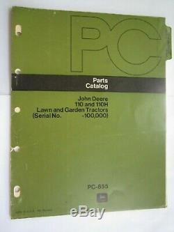 John Deere 110 & 110h Lawn Garden Tractor Parts Catalog Manual Pc-855