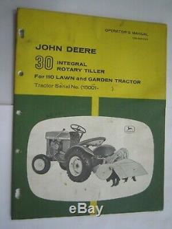 John Deere 110 Lawn & Garden Tractor 30 Rotary Tiller Operator's & Parts Manual