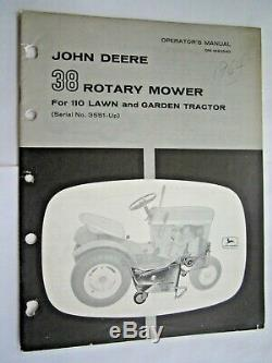John Deere 110 Lawn & Garden Tractor 38 Rotary Mower Operator's & Parts Manual