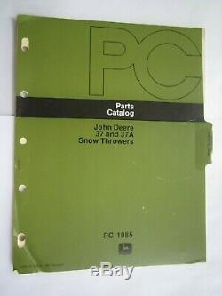 John Deere 112 & 212 Lawn Tractor 37 & 37a Snow Thrower Parts Catalog Manual