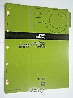 John Deere 140 Lawn & Garden Hydrostatic Tractor Parts Catalog Manual Pc-1078