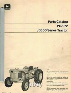 John Deere 300 Industrial Vintage Tractor Parts Manual Pc-972 1970