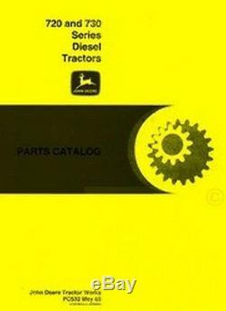 John Deere 720 730 Diesel Engine Tractor Parts Manual Catalog JD PC-532