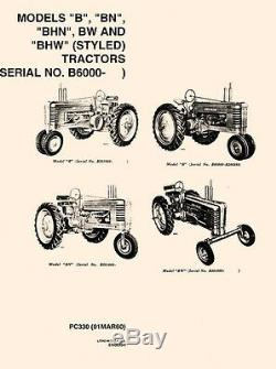 John Deere B BN BHN BW BHW Tractor Parts Manual Catalog