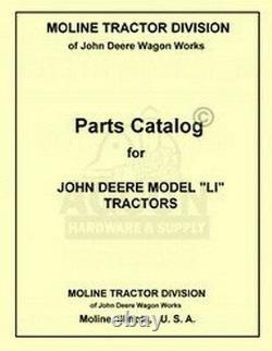 John Deere LI Tractor Parts Manual Catalog JD 1938-1946