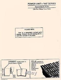 John Deere Model 145 Series Power Unit Parts Manual Catalog JD 537