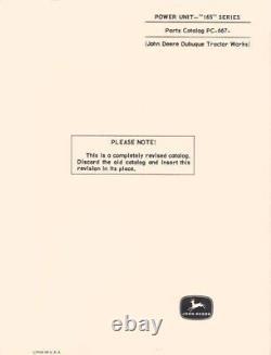 John Deere Model 165 Series Power Unit Parts Manual Catalog JD 667
