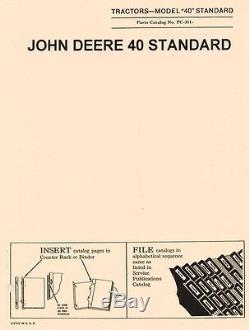 John Deere Model 40 Standard Tractor Parts Manual Catalog JD PC-311