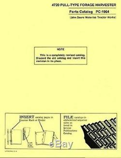 John Deere Model 4720 Pull Type Forage Harvester Parts Manual Catalog JD 1964