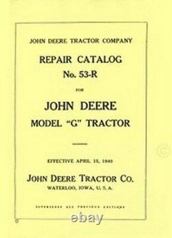 John Deere Model G Tractor Parts Catalog Manual JD 53-R