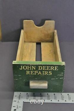 John Deere Repairs Tractor Wood Wooden Green Yellow Antique Vtg Parts Drawer