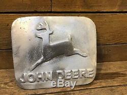 John Deere Sign Cast Aluminum Vintage Tractor Antique D Iron B 4020 Oil Can Part