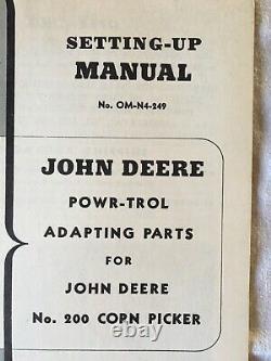 VINTAGE John Deere Tractors Operators Manual Powr-trol Adapting Parts OM-N4-249