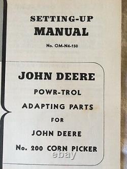 VINTAGE John Deere Tractors setting up Manual OM-N4-150 POWR-TROL Parts No. 200