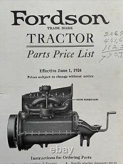 Vintage 1924 FORDSON Tractor PARTS PRICE LIST Catalog Book Ford Motor Co