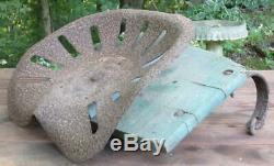 Vintage Antique Original John Deere Tractor Part Seat Mount Brackets Wood Base