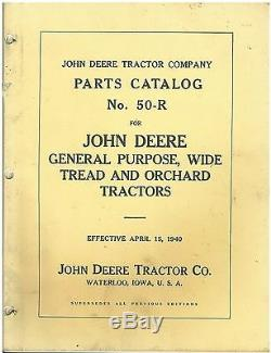 Vintage John Deere 1940 Orchard Tractor 50-R Parts Catalog
