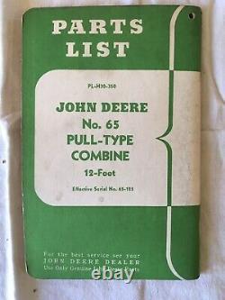 Vintage John Deere Tractors Parts List Manual PL-H30-350 Pull Type Combine Rare